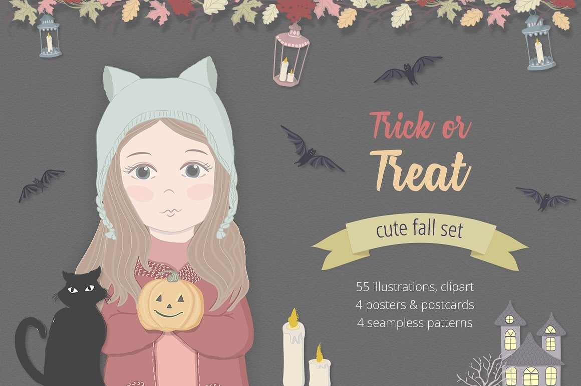 Halloween Fall Illustration Set