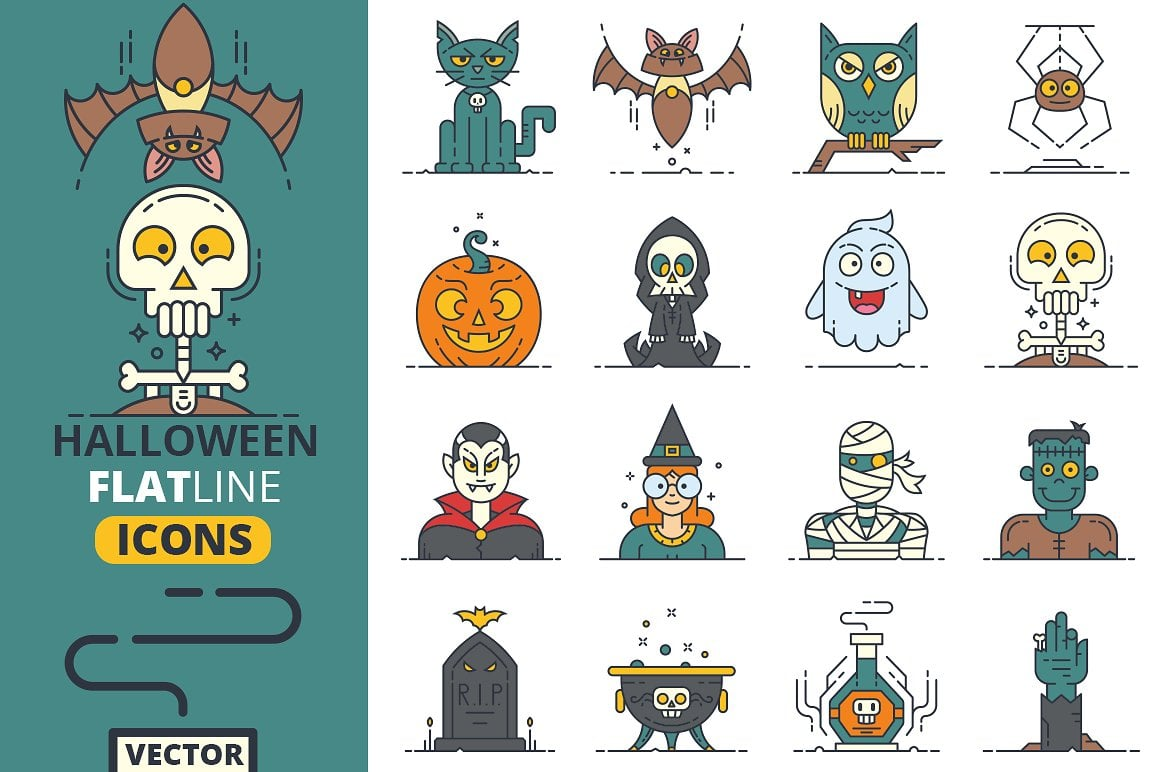 Halloween Flat Line Icons