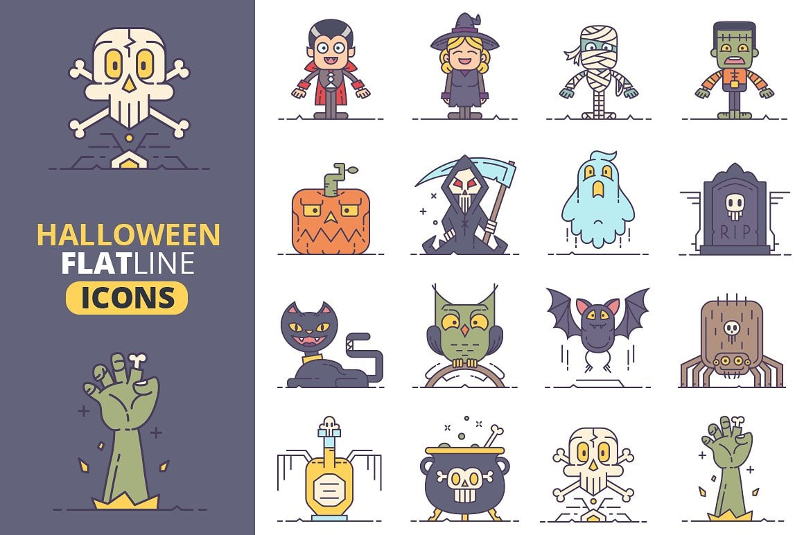 Halloween Graphics Bundle - 2046 Elements - just $9 - halloween flat line icons vol2 preview1