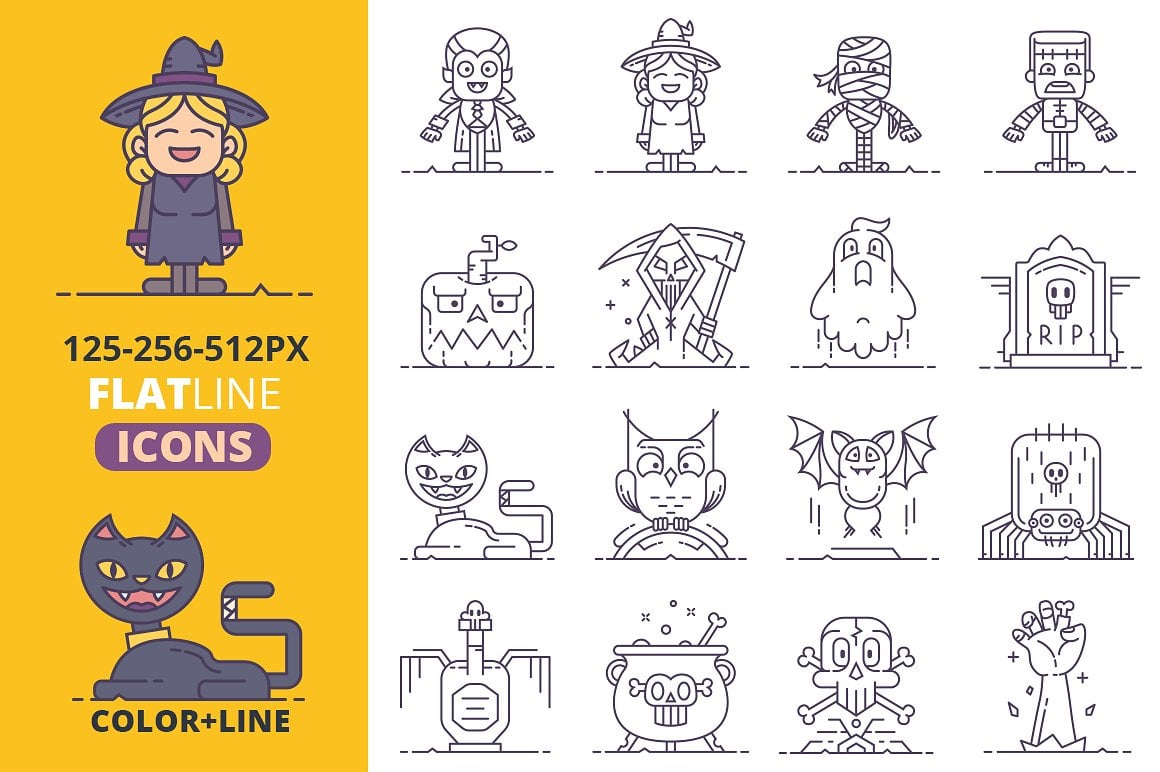 Halloween Graphics Bundle - 2046 Elements - just $9 - halloween flat line icons vol2 preview2