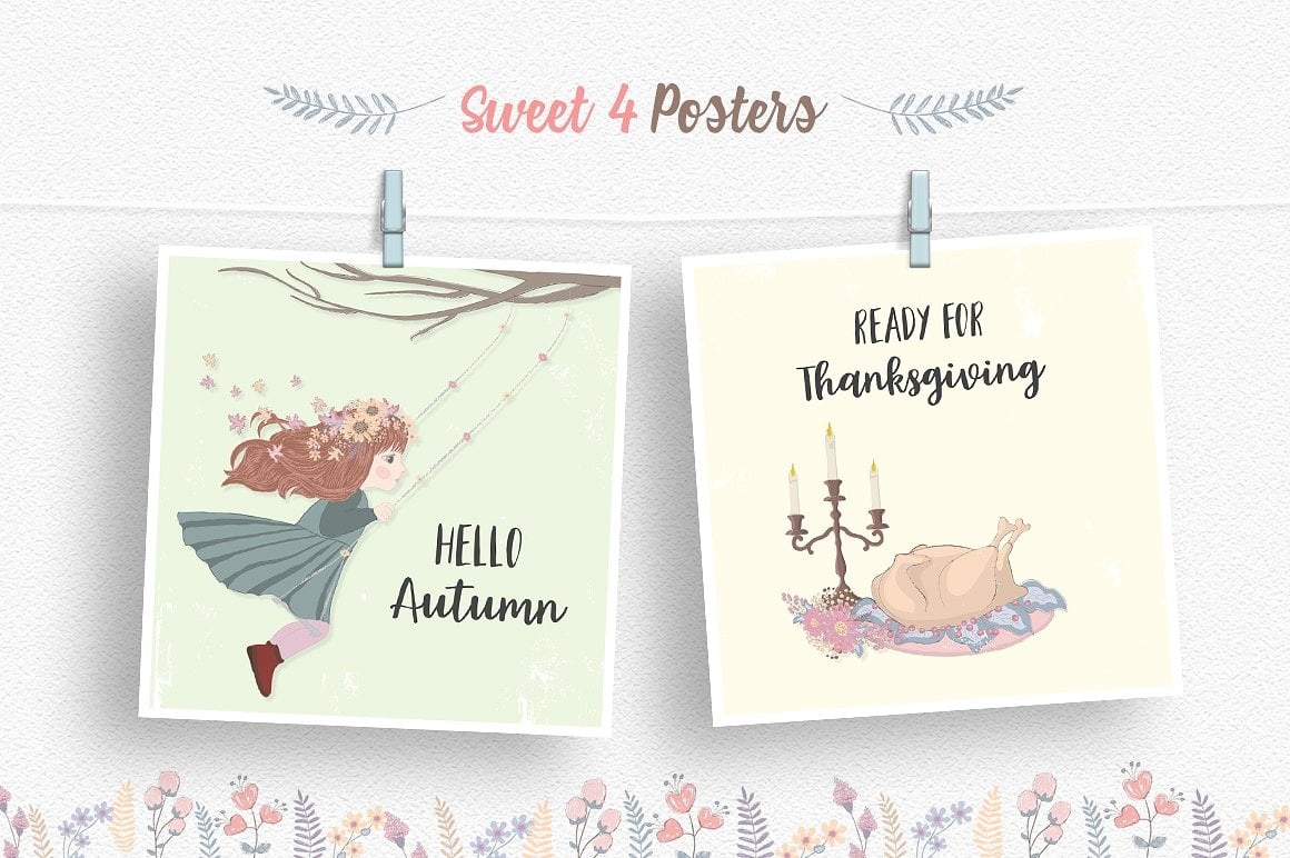 Thanksgiving Day Clipart Set
