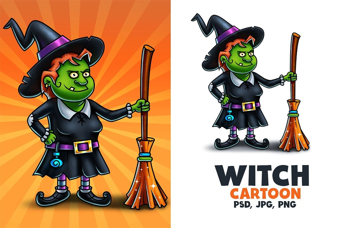 Witch Cartoon Character Digital Painting