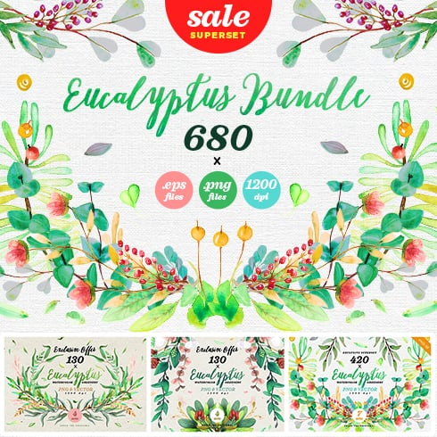 88% OFF: Watercolor Eucalyptus MEGASet (680 files) - Eucalyptus Superset preview 1 490x490px
