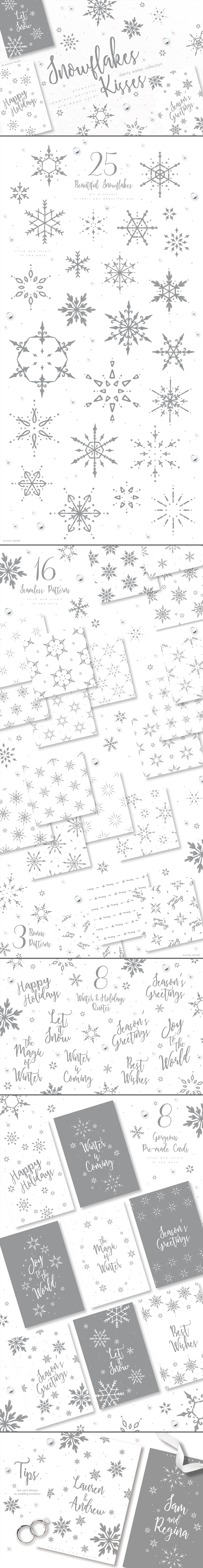 Snowflakes PNG: Snowflakes Kisses - 60 items for $4 - Full Image