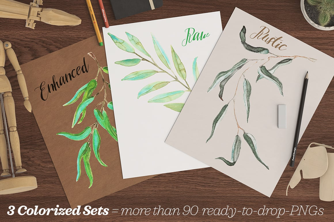 Watercolor Eucalyptus MEGASet