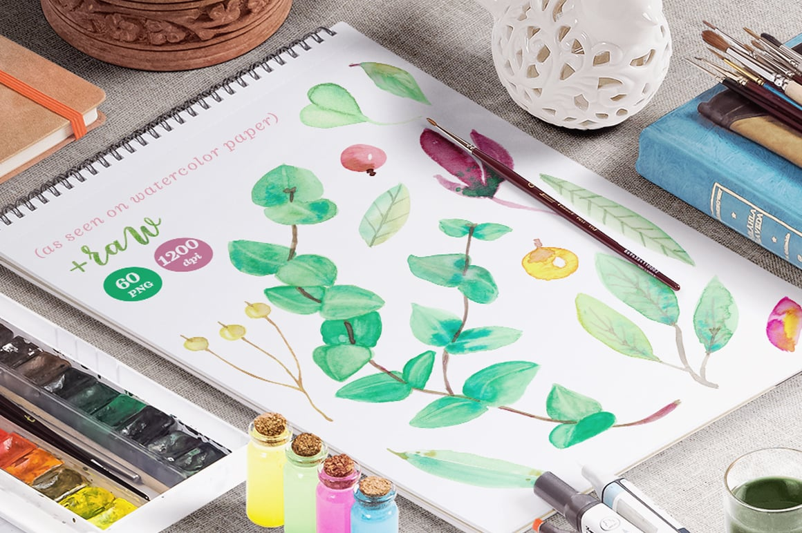 Watercolor flowers and leaves that melt on matte paper.