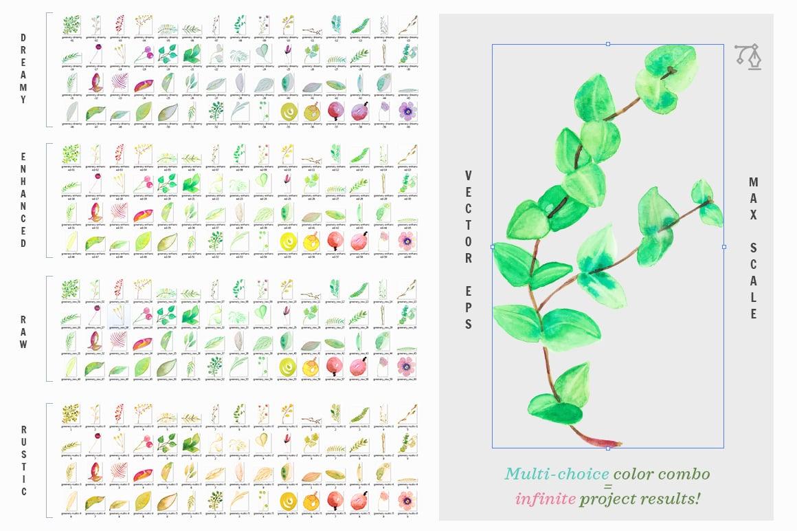 88% OFF: Watercolor Eucalyptus MEGASet (680 files) - Set 3 preview 6