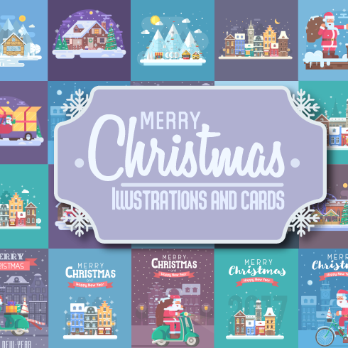 New Year and Christmas Illustrations and Cards Bundle - $15 - christmas previews 01 krug 490x490
