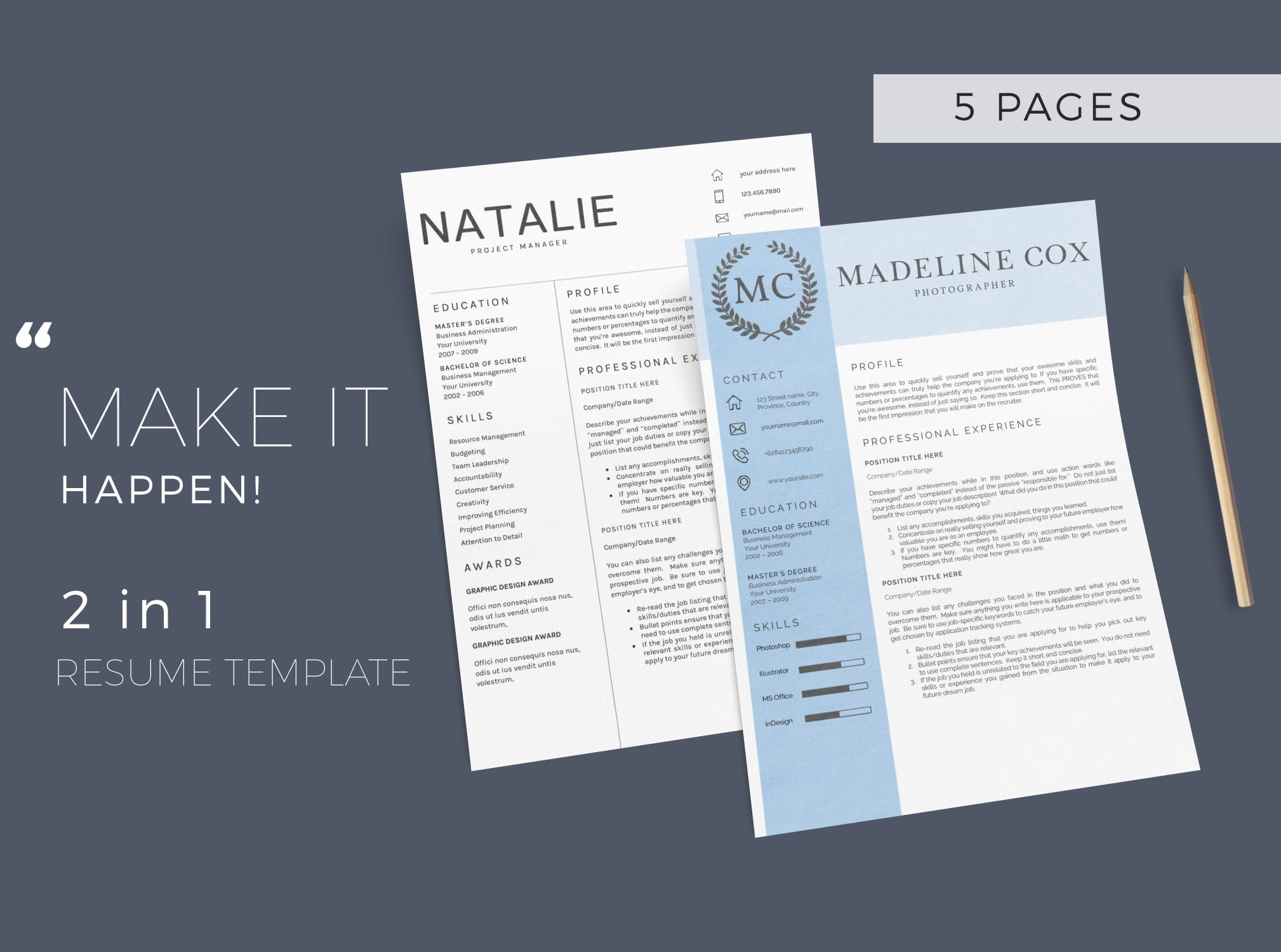Bundle - Resume Template 5 Pages - $11 - 1 2