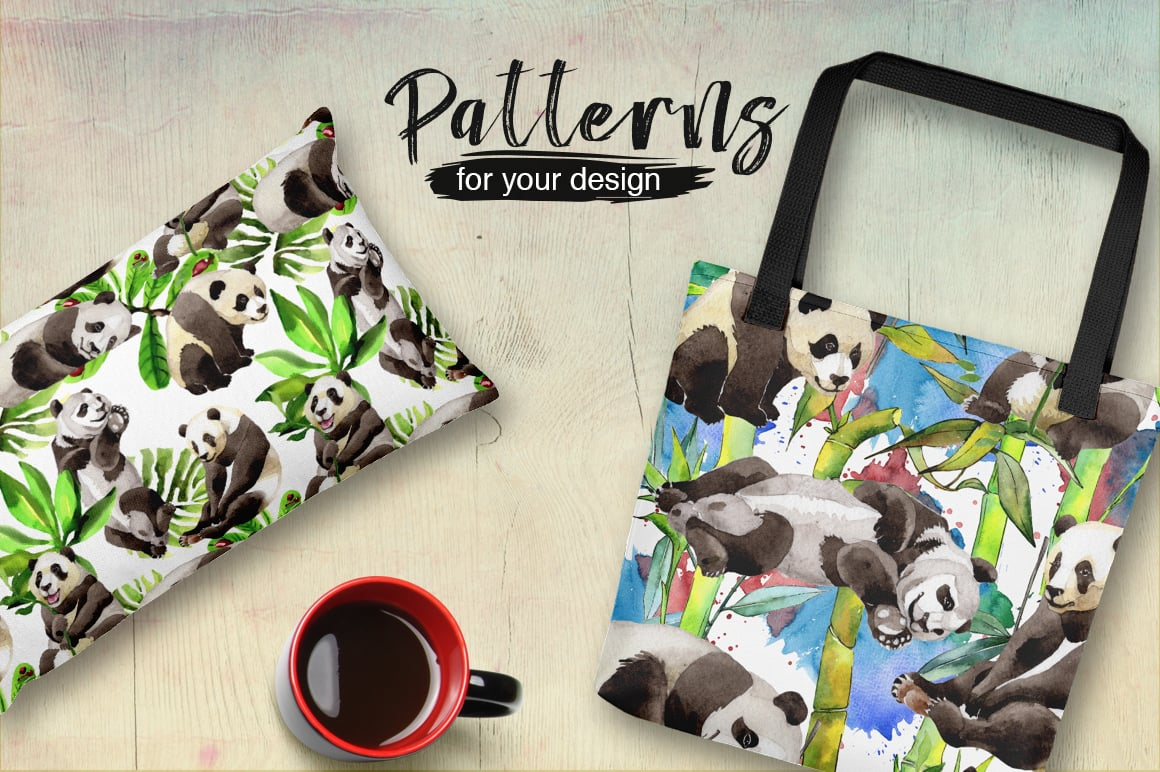 Panda wild animal PNG watercolor set