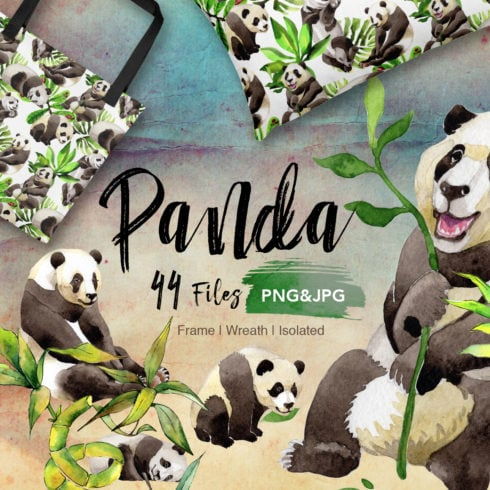 Panda wild animal PNG watercolor set - Promo 1 490x490