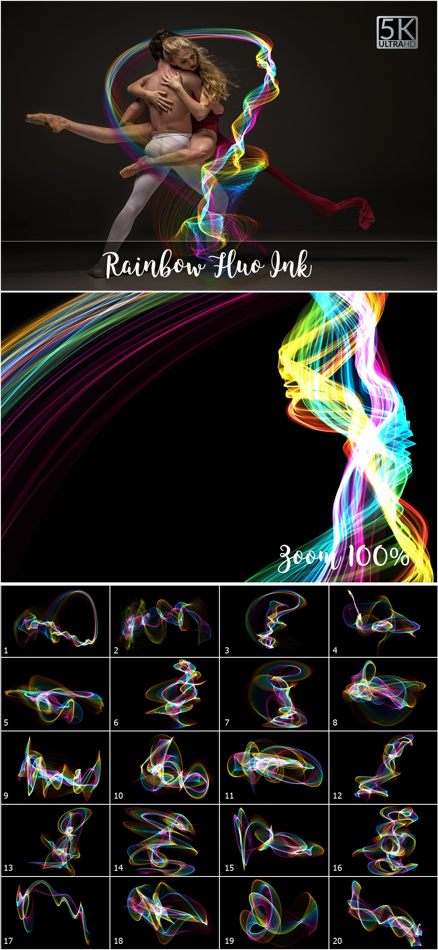 1053 Spectacular Overlays png - Only $18! - Rainbow FLuo Ink