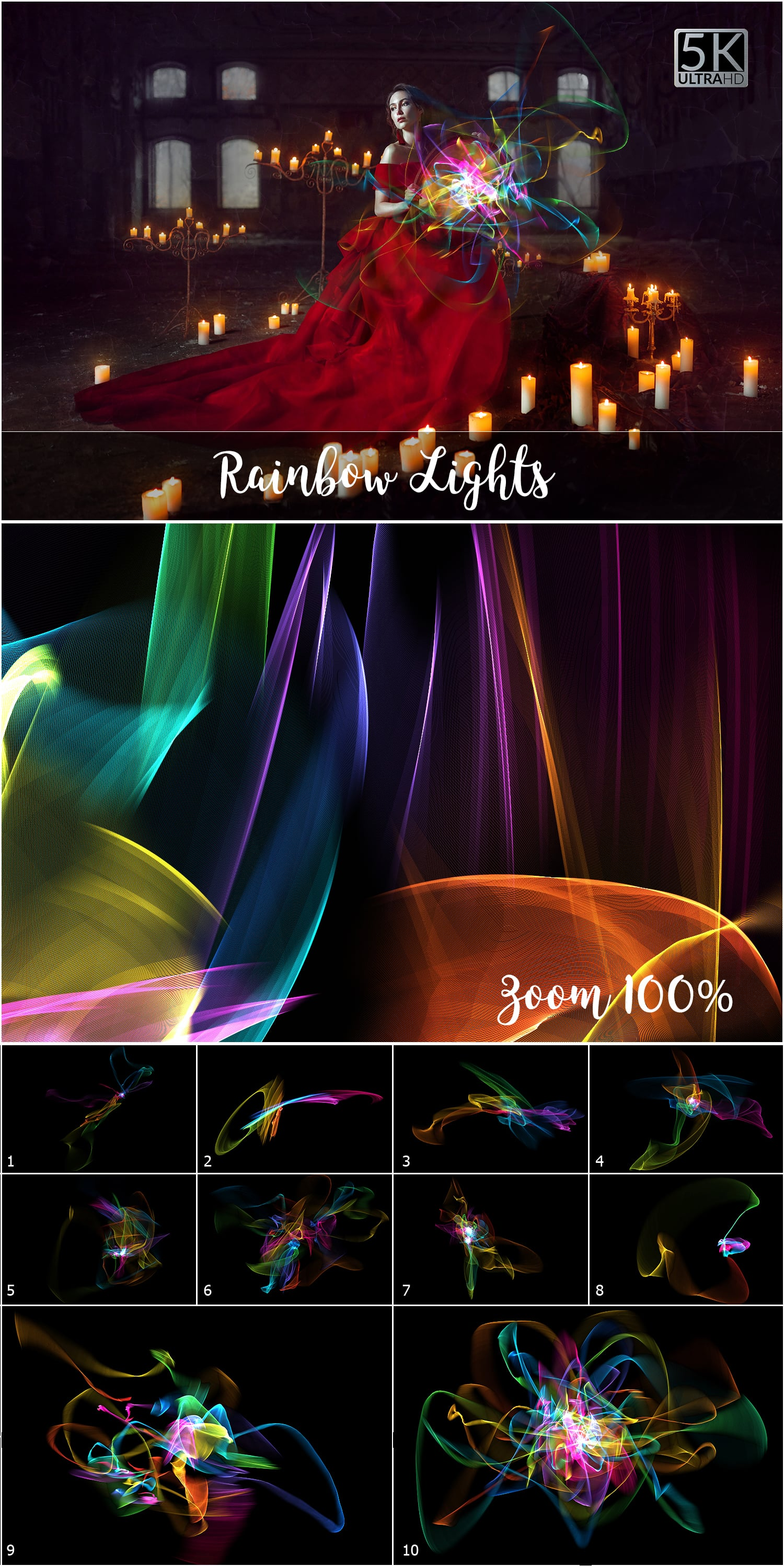 1053 Spectacular Overlays png - Only $18! - Rainbow Lights