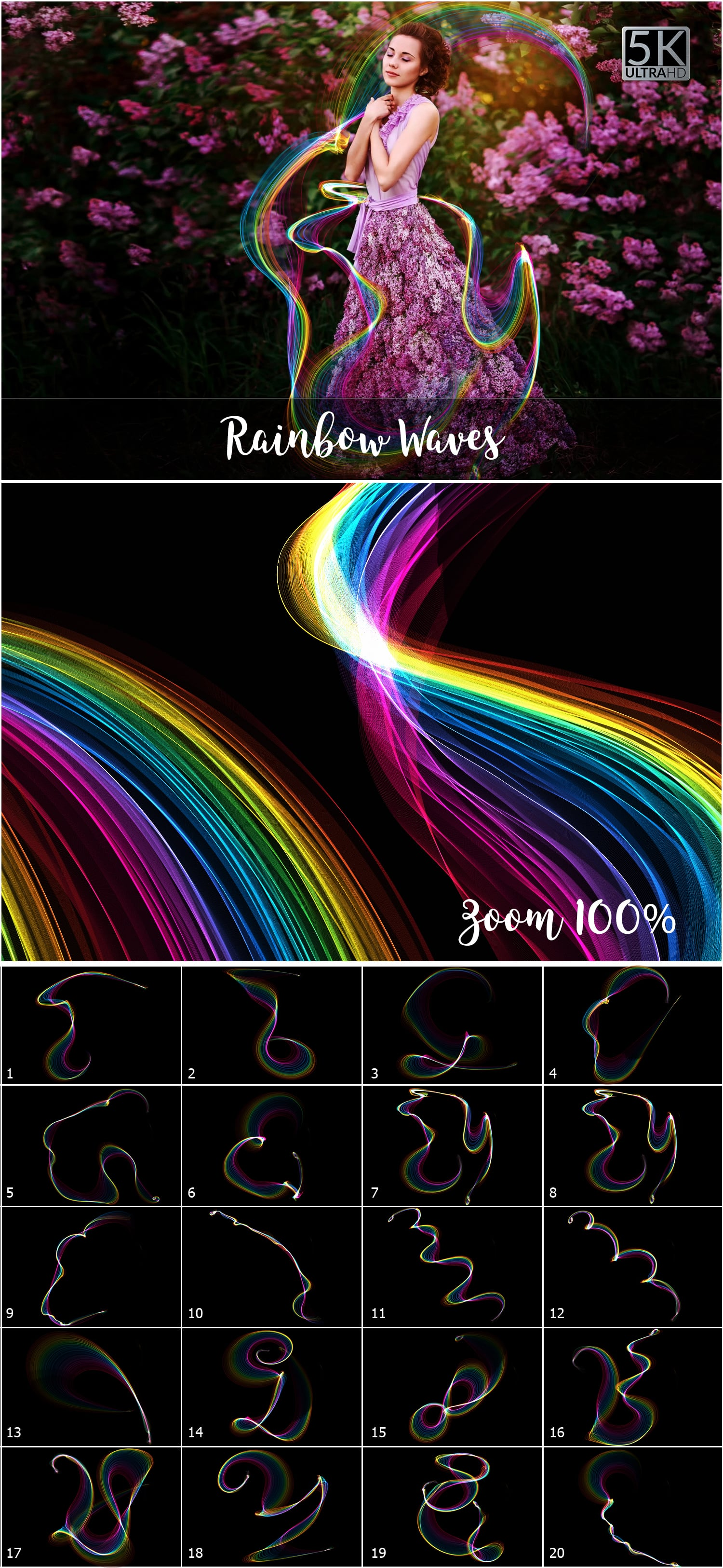 1053 Spectacular Overlays png - Only $18! - Rainbow Waves