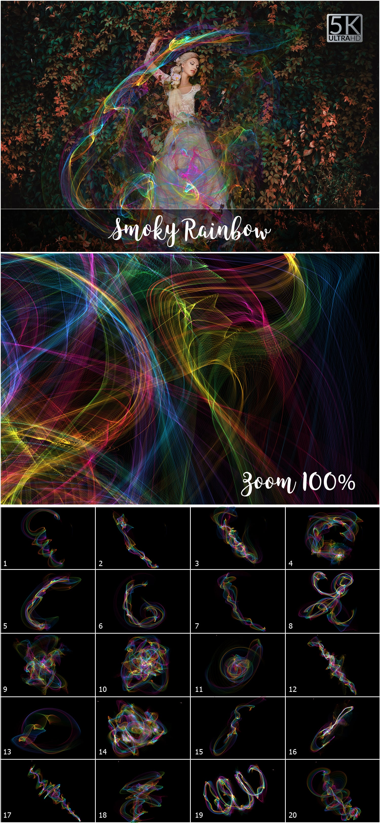 1053 Spectacular Overlays png - Only $18! - Smoky Rainbow