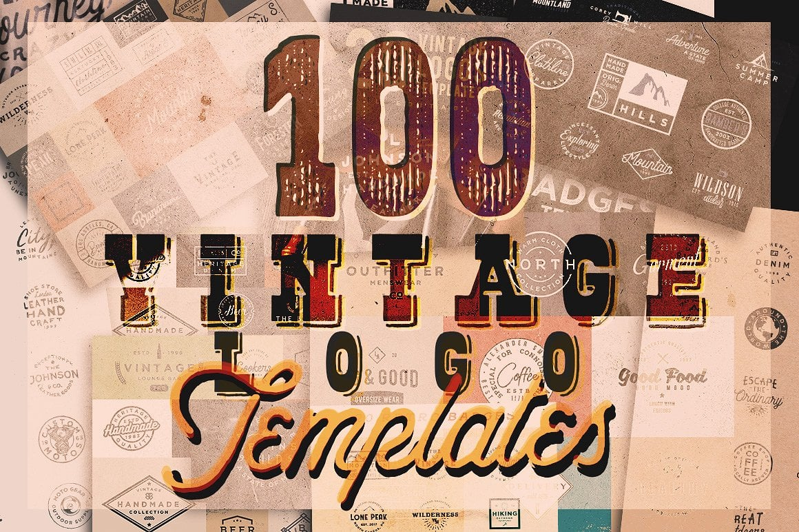 100 Vintage Stock Logo Templates - Only $24! - for cm
