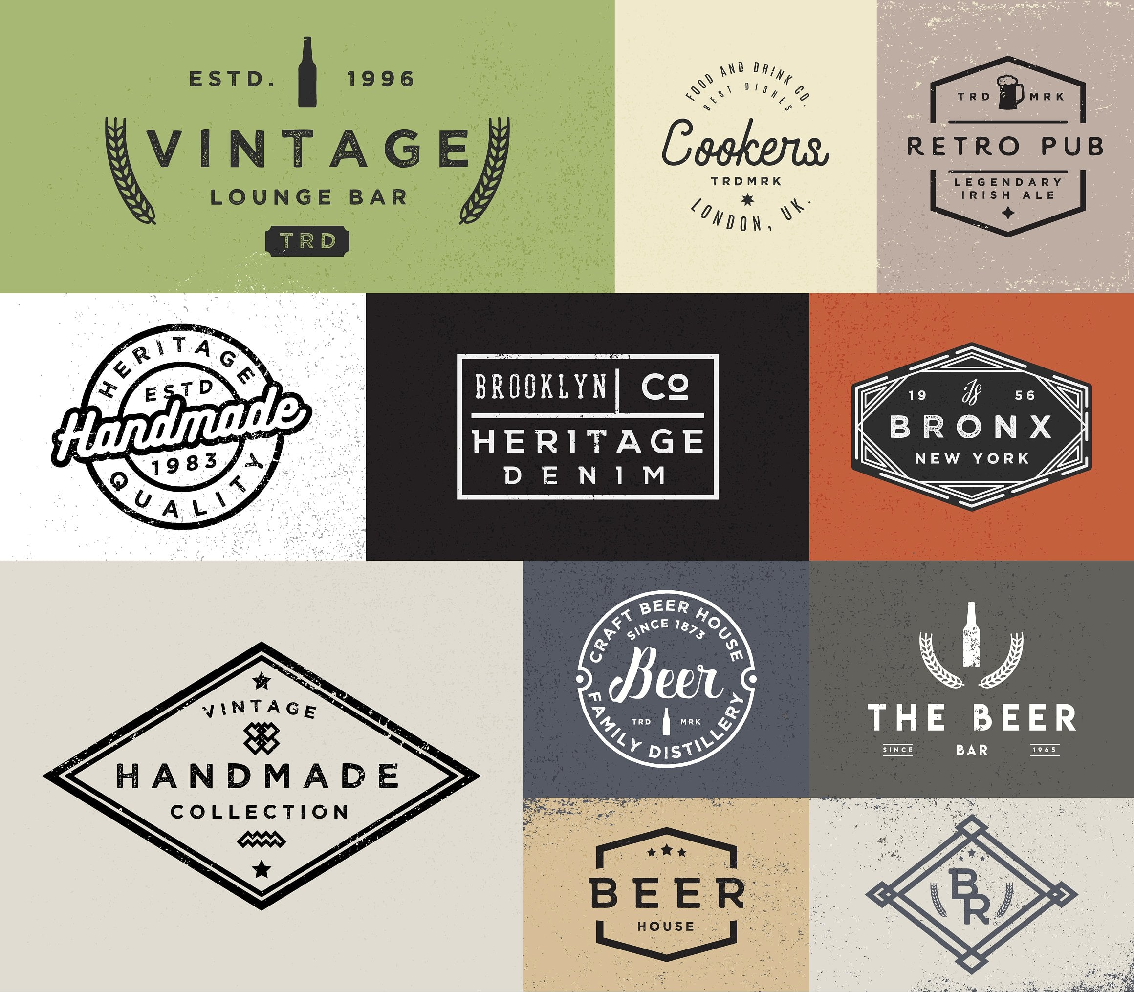 100 Vintage Stock Logo Templates - Only $24! - forcm2