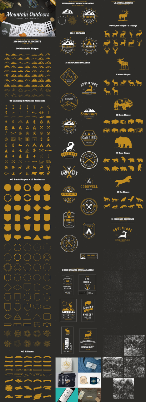 Mountain Outdoors Vintage Logo Kit: 325 vector elements - fullpreview preview