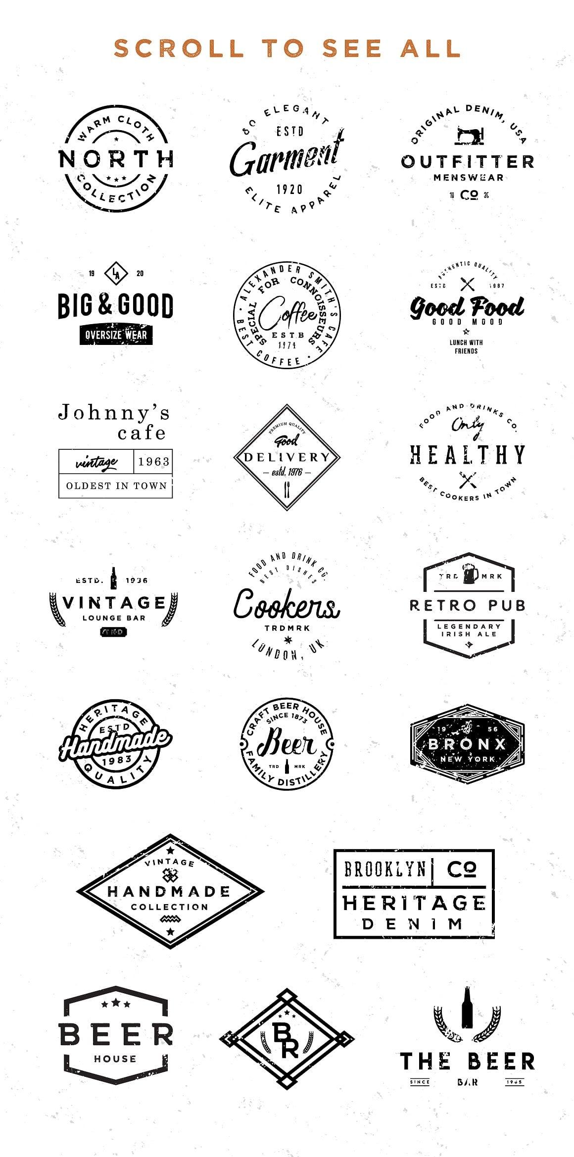100 Vintage Stock Logo Templates - Only $24! - jpg