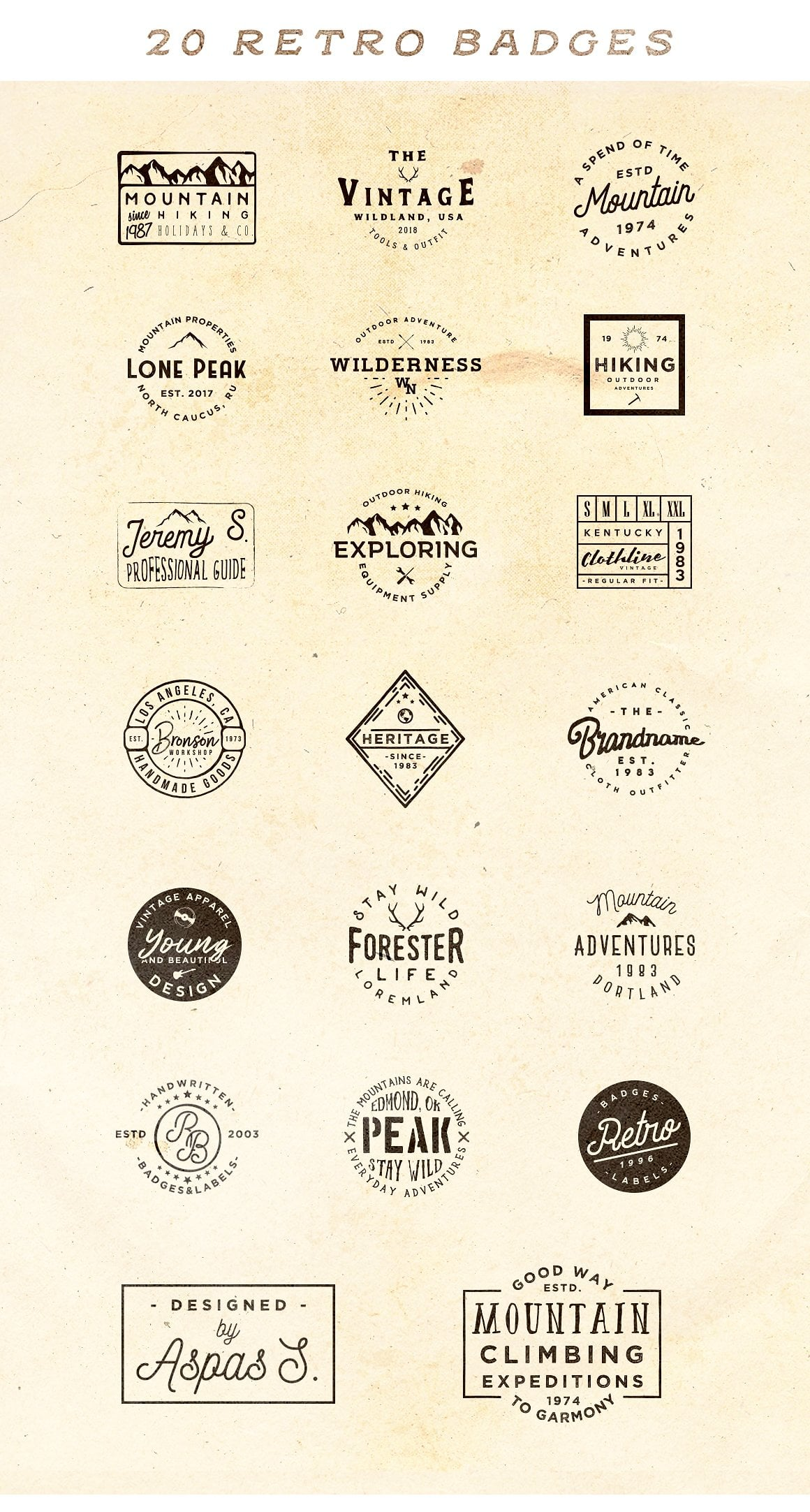 100 Vintage Stock Logo Templates - Only $24! - main