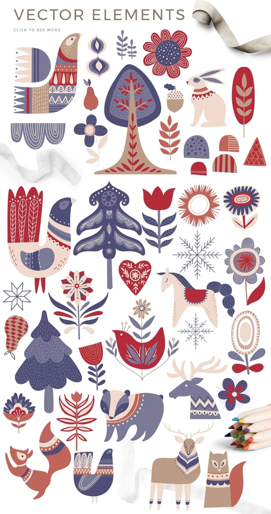 Scandinavian Winter Bundle: 80 Vector and Raster Elements - $15 - prev4