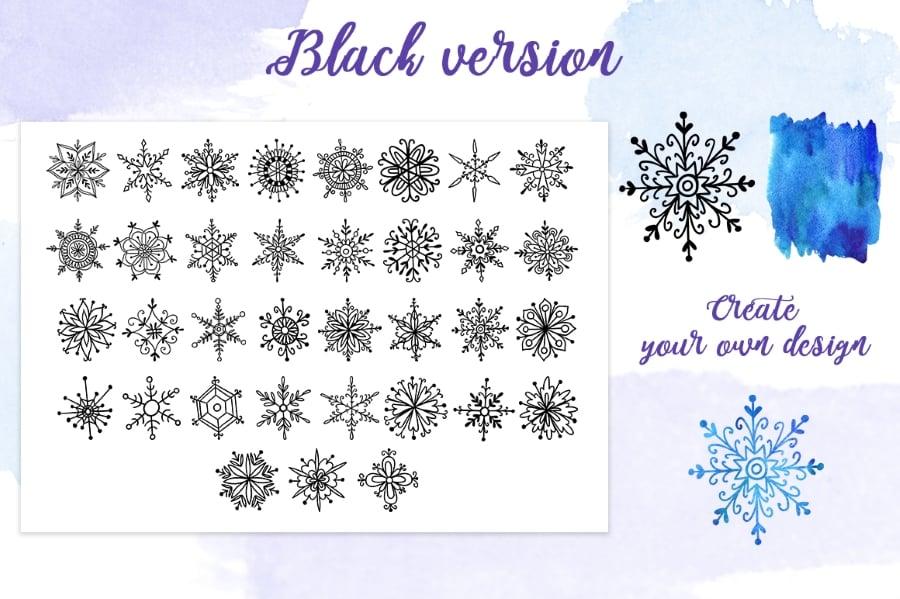 35 fantasy hand-painted watercolor snowflakes