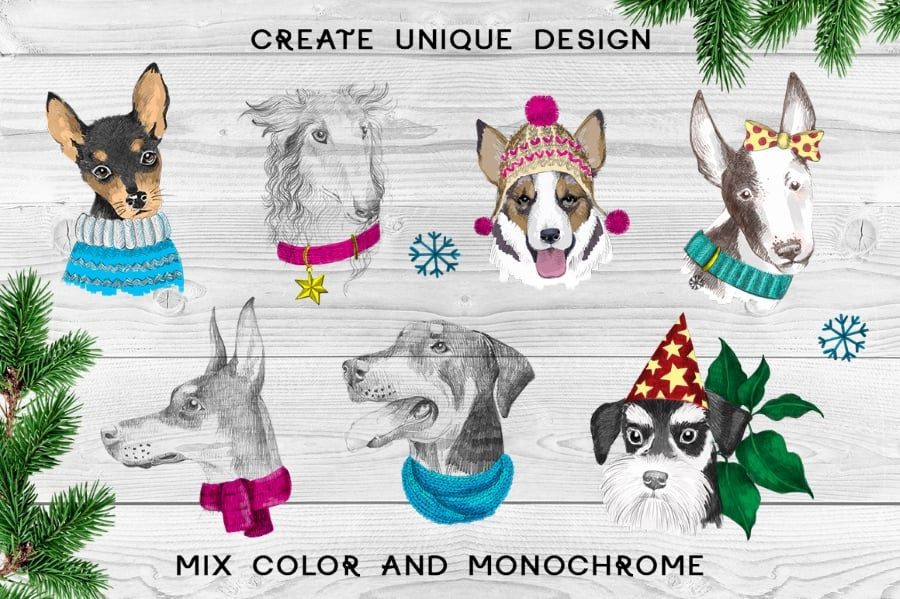 New Year Bundle: 15 Different Dog Breeds and Elements - prev5 2