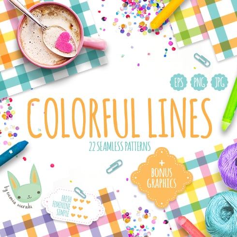 Colorful Lines - Seamless Patterns - just $1 - preview 01