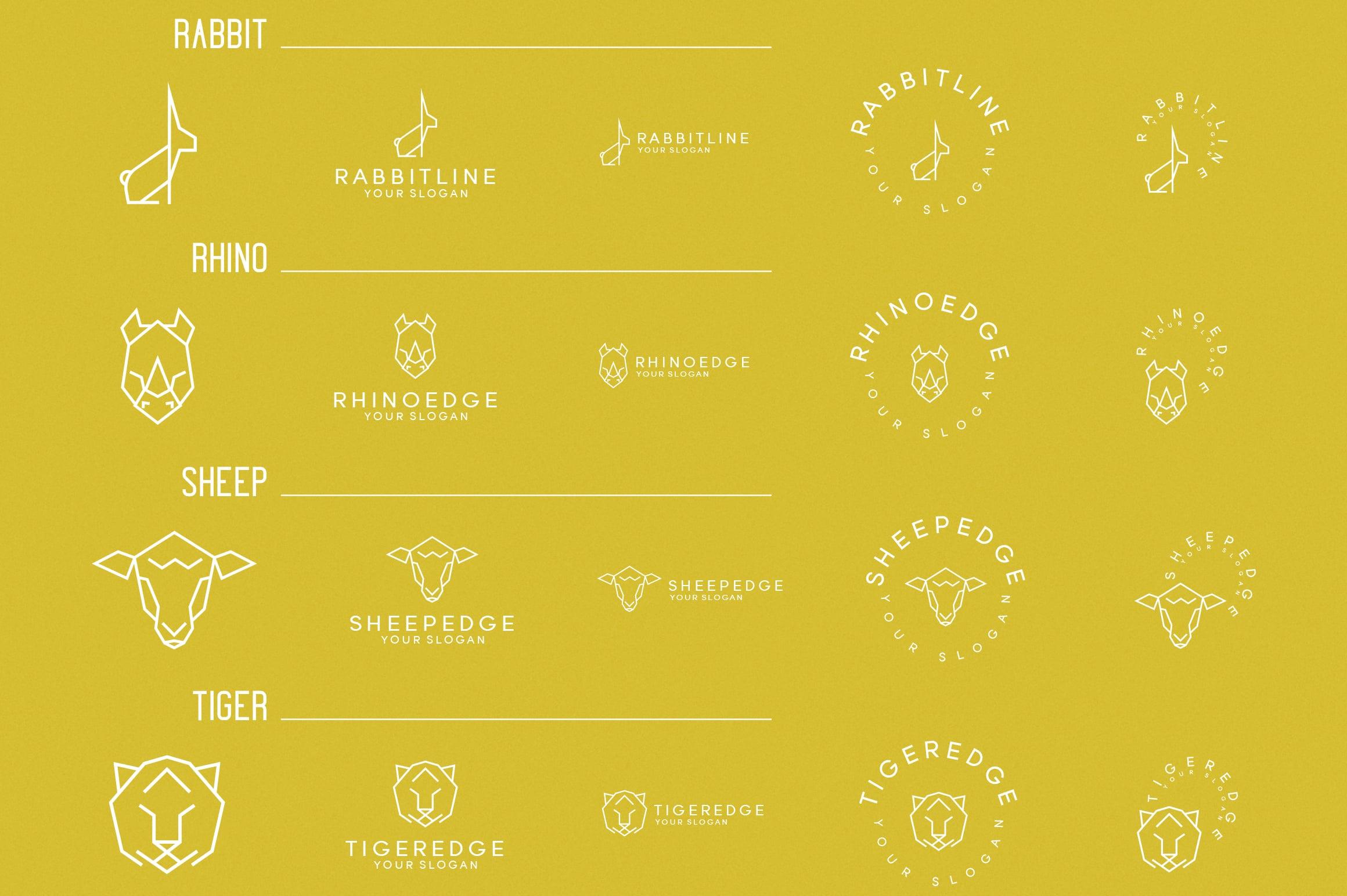 116 Geometric Animal Logo Templates