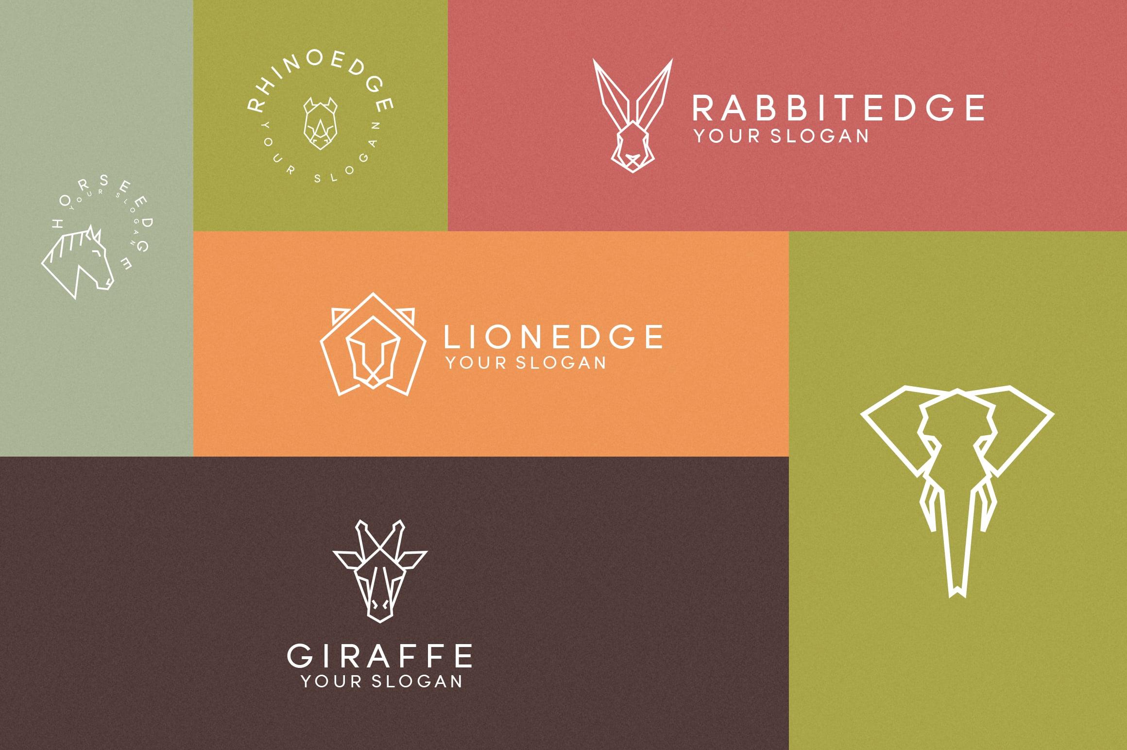 116 Geometric Animal Logo Templates - 2 1