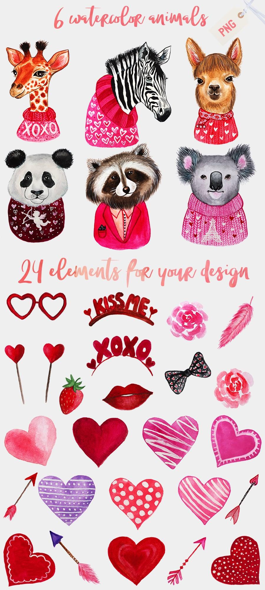 Valentine's Day Bundle: Watercolor Animals