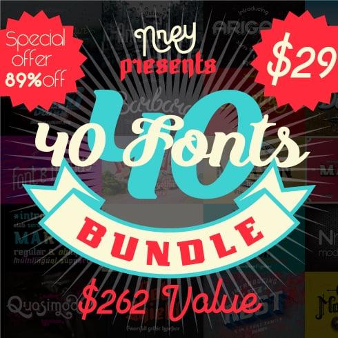 Font Bundle: 40 Typefaces from 22 Font Families - 40font 490x490 1