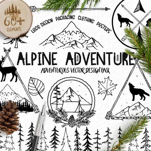 60+ Hand Drawn Rustic Elements + Bonus - AlpineCoverImage