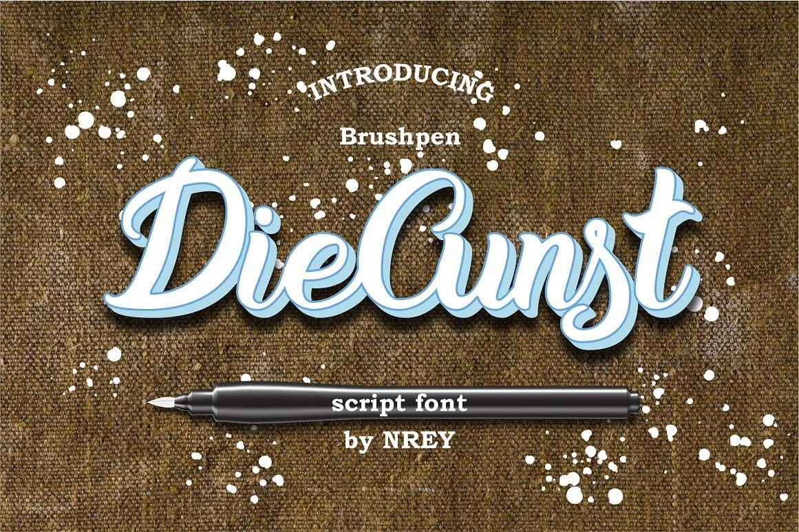 Font Bundle: 40 Typefaces from 22 Font Families - diecunst font 01