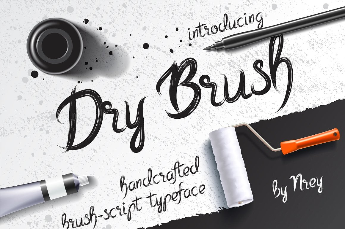 Font Bundle: 40 Typefaces from 22 Font Families - dry brush 02