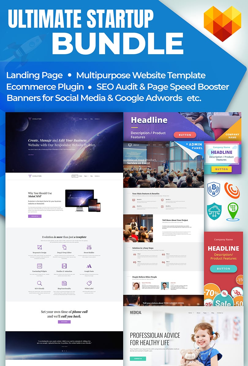 MotoCMS Startup Bundle: Ultimate Collection of Web Solutions for Designers & Developers - inside features