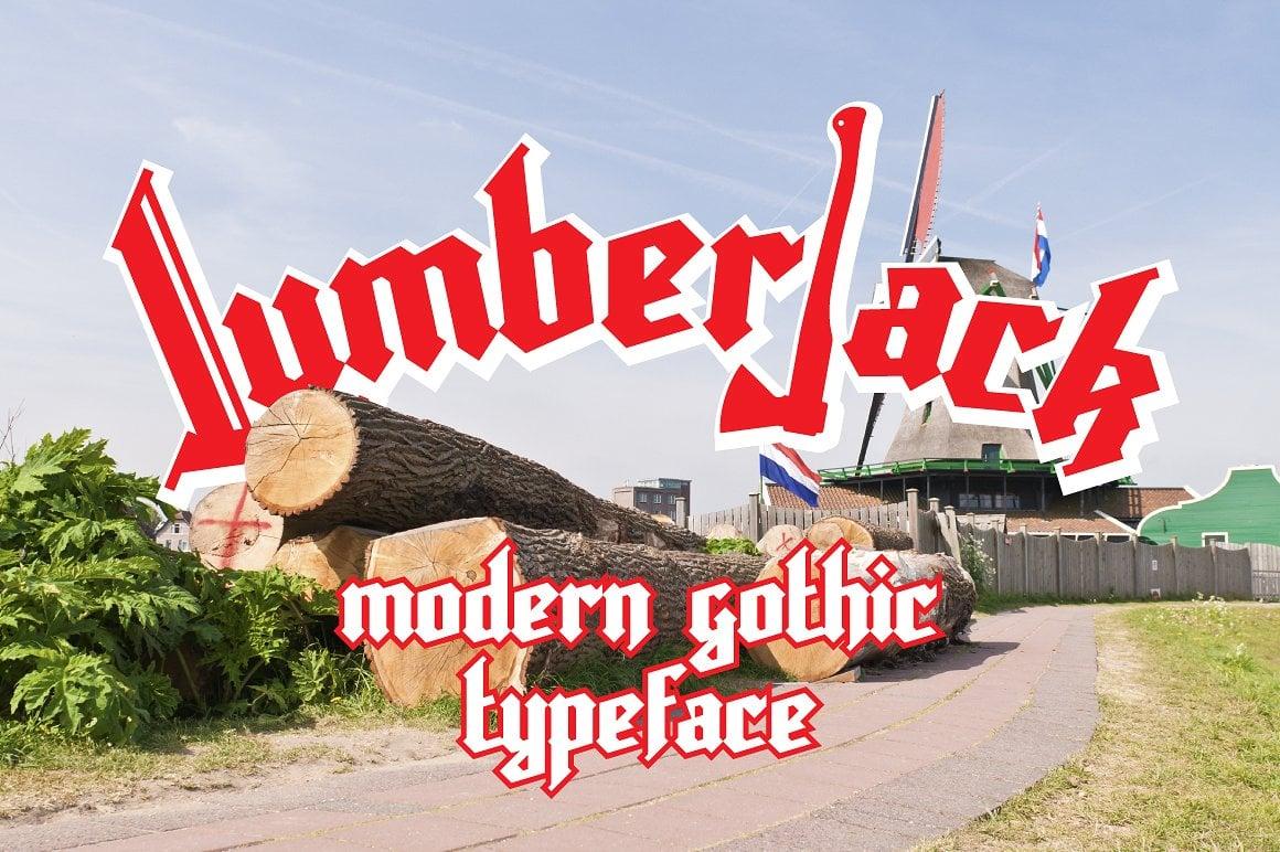 Font Bundle: 40 Typefaces from 22 Font Families - lumberjack font 01