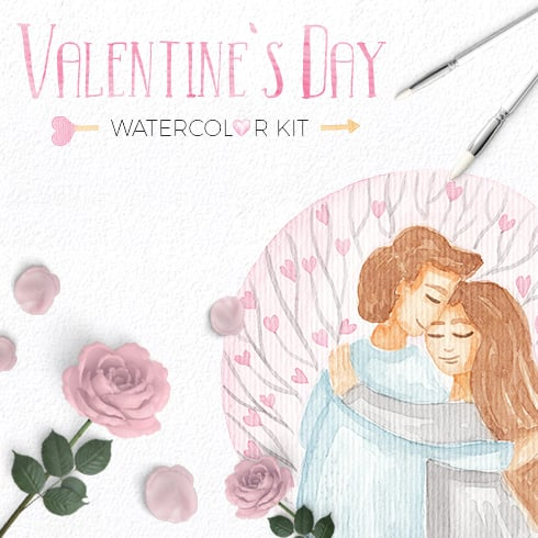 Love Story: Valentine Watercolor Kit - $9 - main490x490
