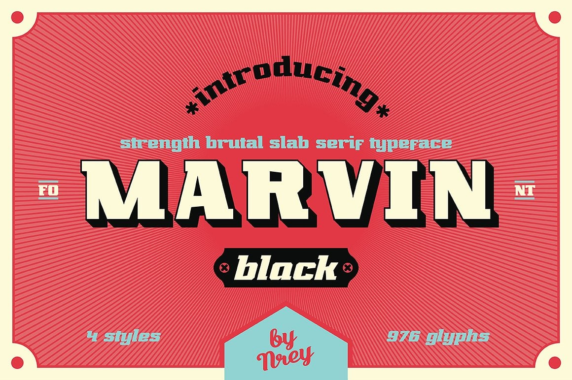 Font Bundle: 40 Typefaces from 22 Font Families - marvin black 01