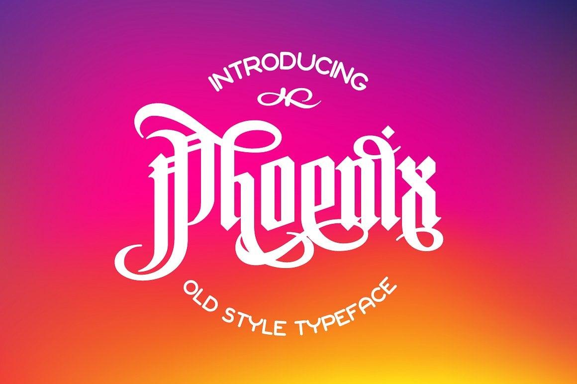 Font Bundle: 40 Typefaces from 22 Font Families - phoenix font 01