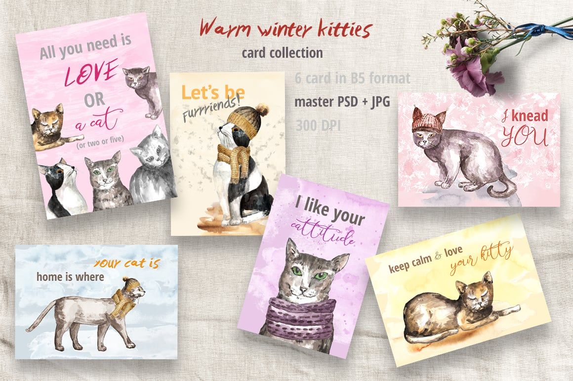 Warm Winter Kitties: Watercolor Set