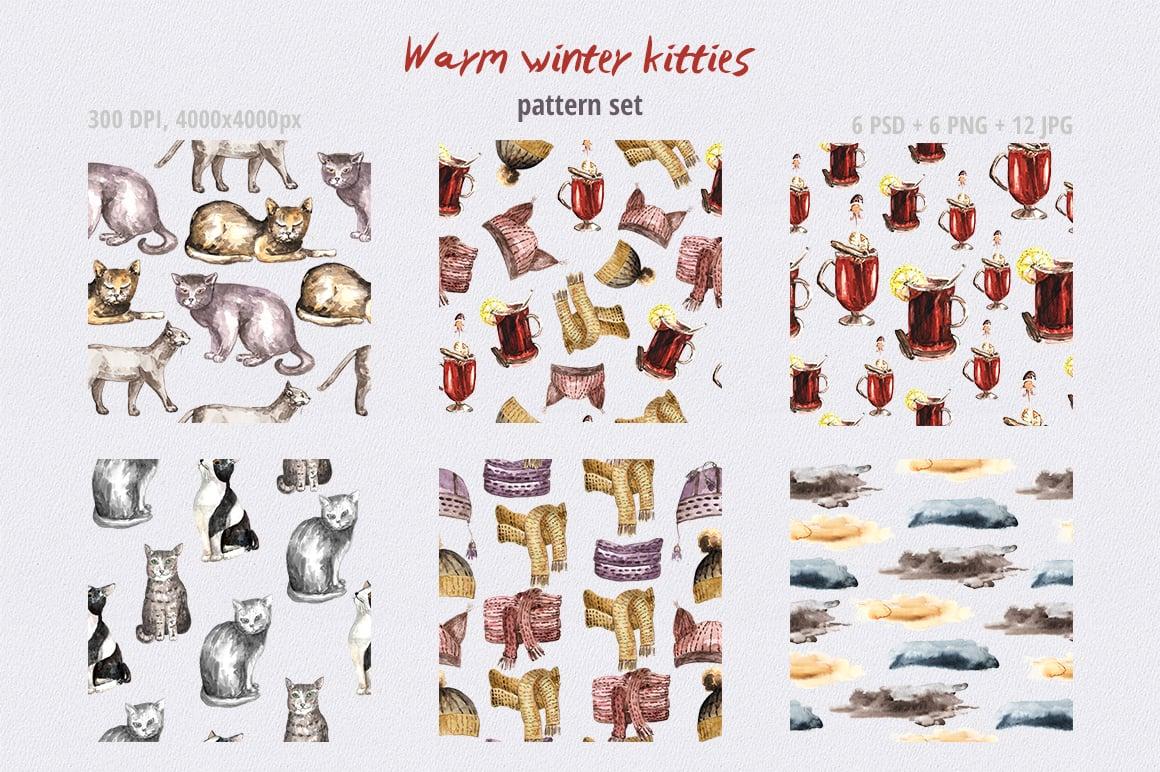 Warm Winter Kitties: Watercolor Set