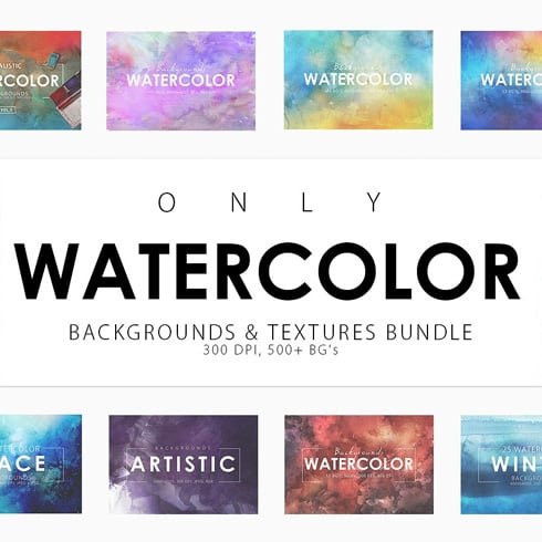 540+ Watercolor Backgrounds Bundle - 544 Items. Only $18! - prev 1