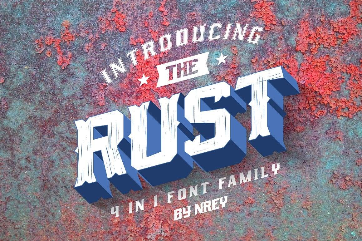 Font Bundle: 40 Typefaces from 22 Font Families - rust 01