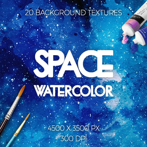 20 Watercolor Space Textures - space 1