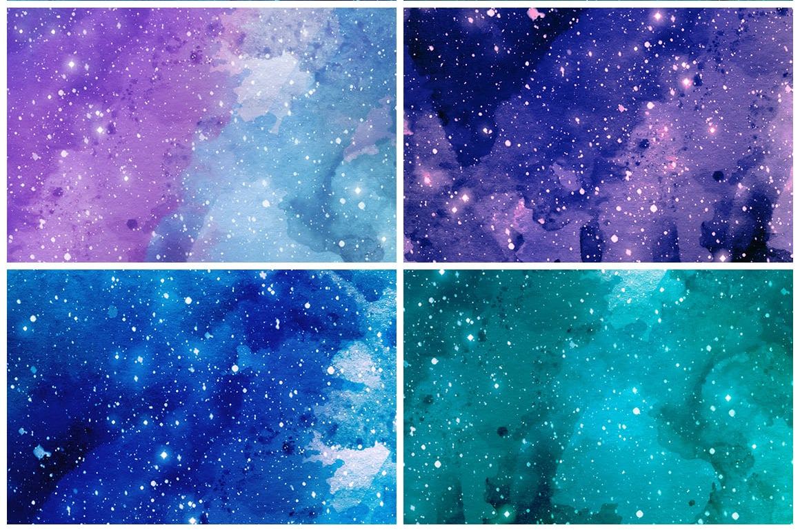 Watercolor Space Cosmic galaxy Textured Background