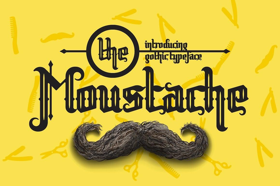 Font Bundle: 40 Typefaces from 22 Font Families - the moustache 01