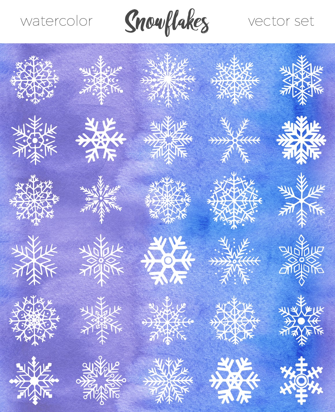 30 unique hand drawn snowflakes