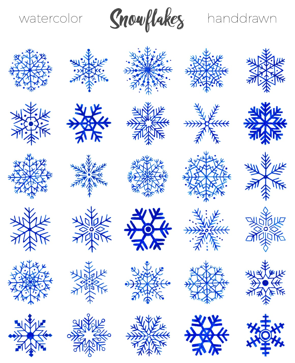 Unique hand drawn snowflakes just master bundles