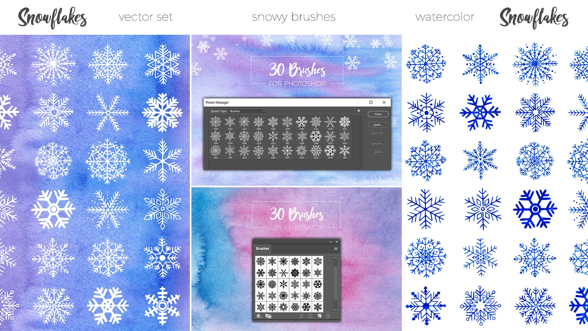 30 Unique Hand Drawn Snowflakes - just $5 - watercolor hand drawn snowflakes 1920x1080